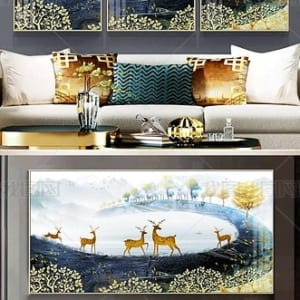 Tranh phong cảnh trừu tượng Hươu vàng Cây tài lộc may mắn