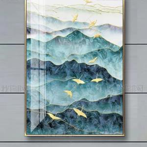 Tranh trang trí tráng men Đàn chim én vàng bay qua núi