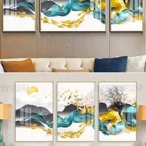 Tranh sứ pha lê Phong cảnh nghệ thuật Bộ 3 cây tài lộc cá vàng may mắn