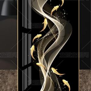 Tranh trang trí Lối vào đá cẩm thạch Dòng chảy cá vàng gold nghệ thuật