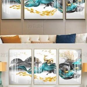 Tranh sứ pha lê Phong cảnh trừu tượng cá vàng may mắn