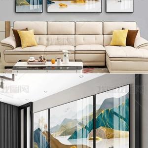 Tranh sứ pha lê Bộ 3 tranh trang trí phòng khách cao cấp núi non hùng vĩ