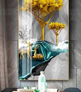 Tranh pha lê sứ Lối vào cây bạch đàn vàng may mắn