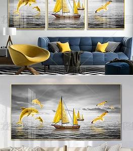 Tranh đá vàng Bắc Âu biển vàng bằng sứ pha lê