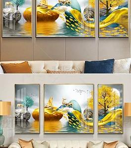 Tranh sứ pha lê hiện đại cây tài lộc lá vàng